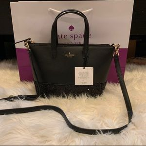 NWT Authentic Kate Spade Black leather glitter bag